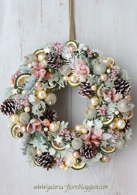 Rose Gold Wreath With Pinecones