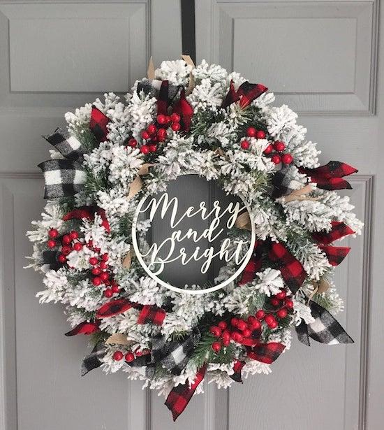 White, red and buffalo plaid wreath