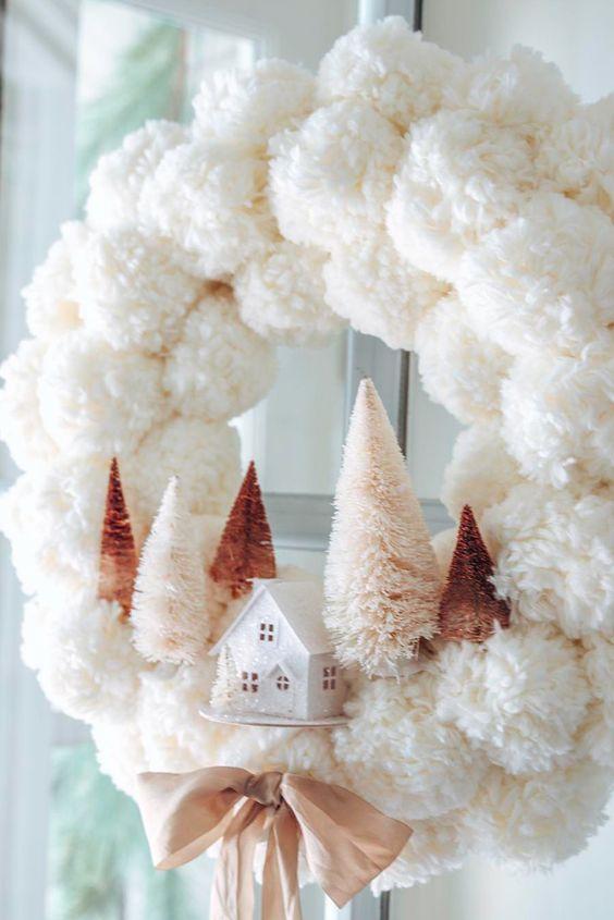 DIY White Pom Pom Wreath