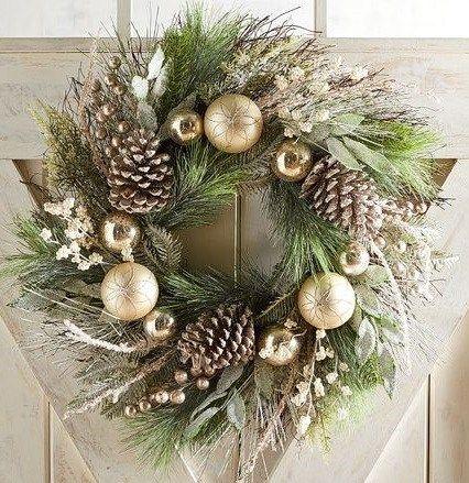 Golden Rustic Pinecone Wreath