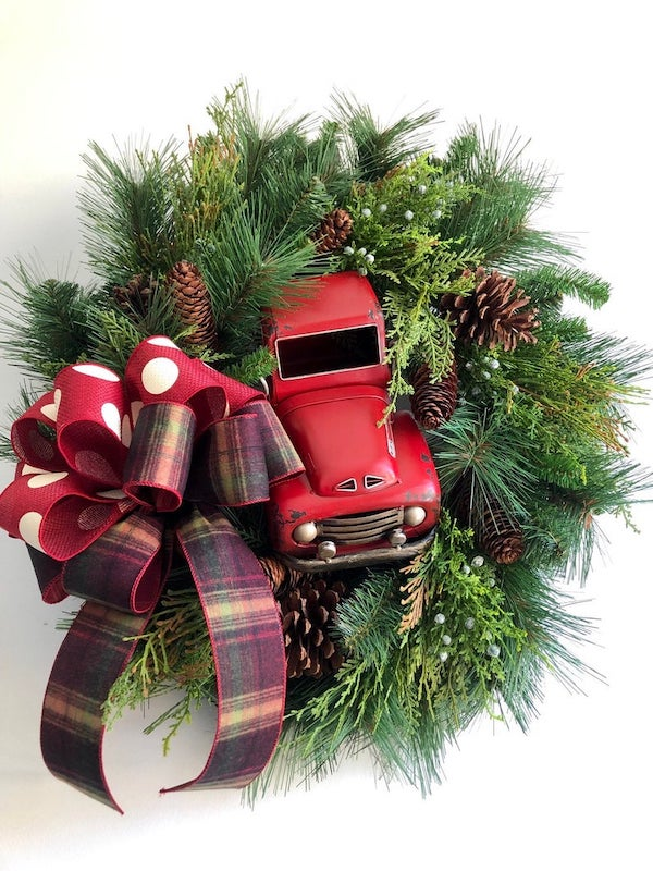Rustic Red Truck Christmas Wreath with ribbon