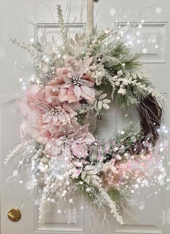 Elegant white and pink wreath with flowers