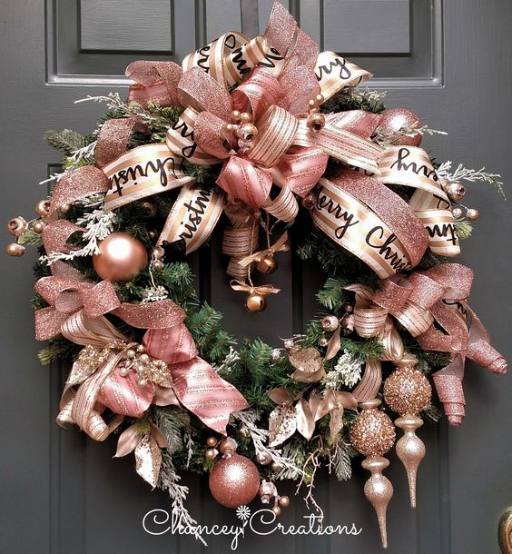 Rose gold Christmas wreathwith ribbons