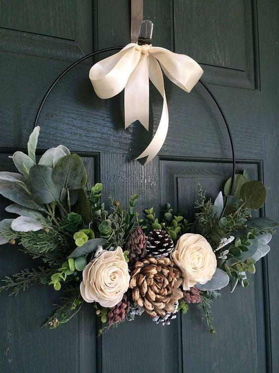 Simple Modern Minimalist Pinecone Wreath