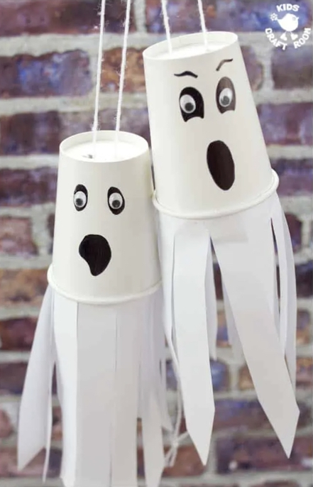 Easy Halloween Crafts For Kids: Paper Cup Flying Ghost Craft
