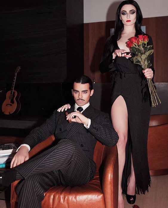 Morticia and Gomez Addams from Addams Family Halloween Costumes