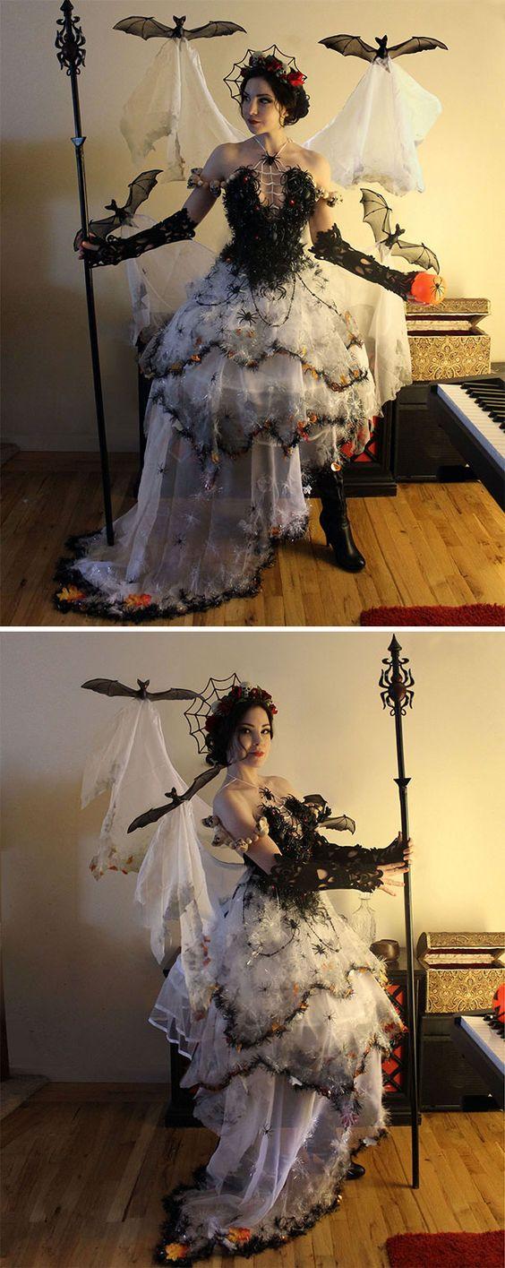 DIY Creative Halloween costume with bats and spiderweb