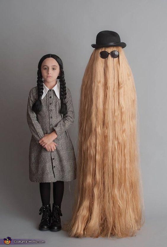 Wednesday Addams & Cousin It Halloween costumes