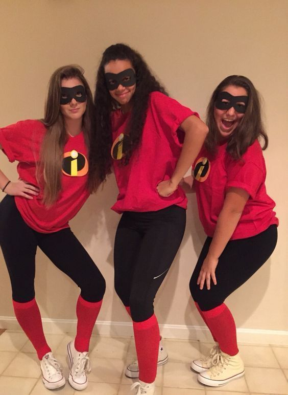 Cute trio Halloween costumes for teenage girls - the Incredibles