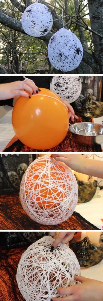 Creative and easy DIY Halloween decorations with spiderweb balloons