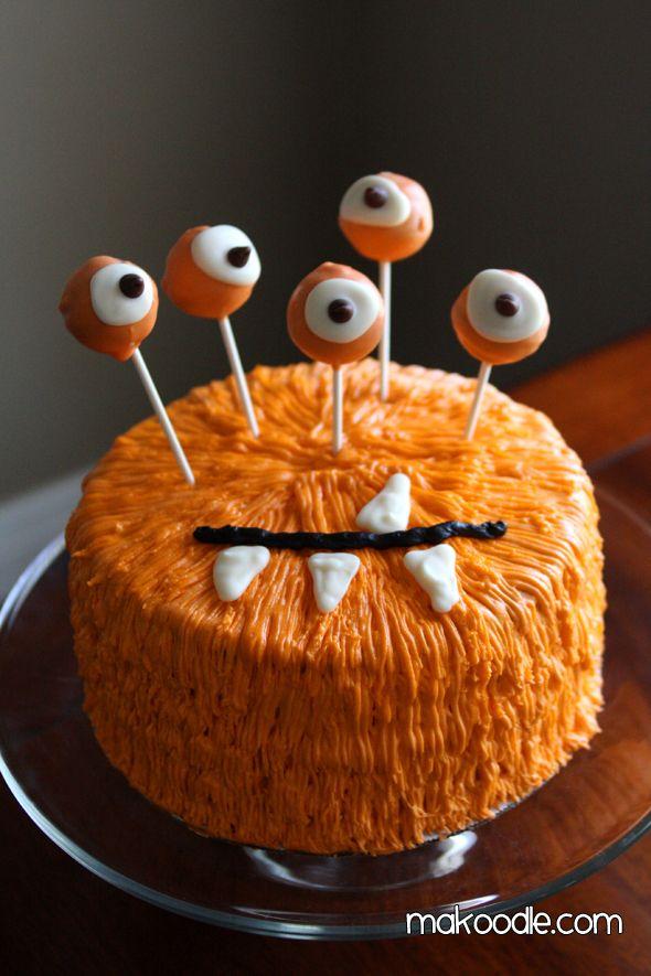 Orange Monster Halloween Cake
