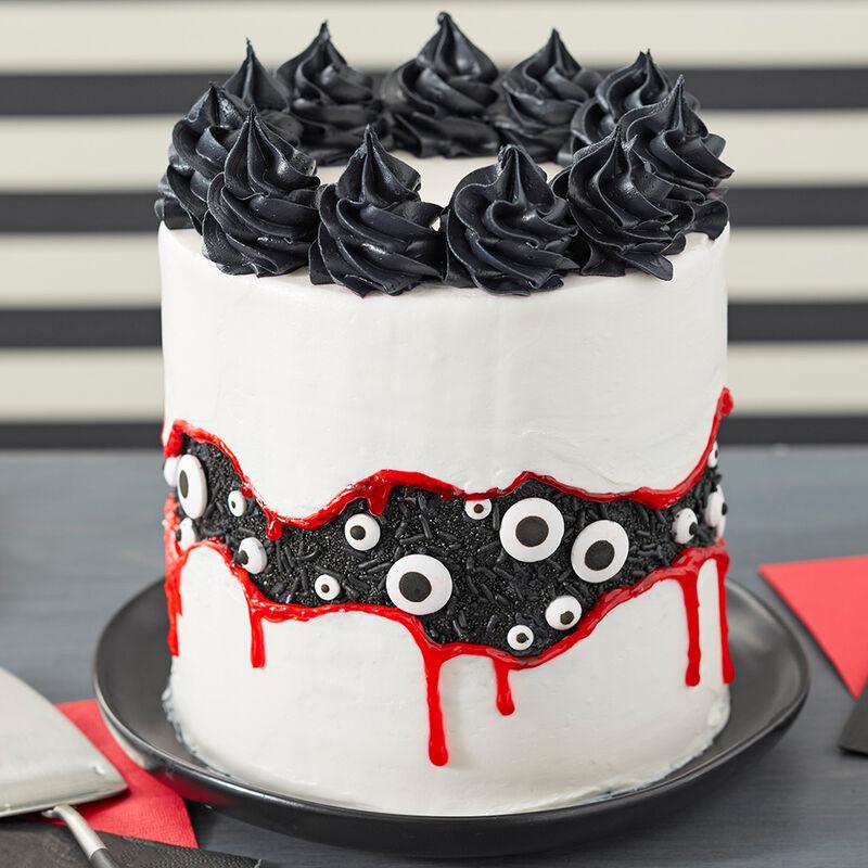 Black and white Halloween cake