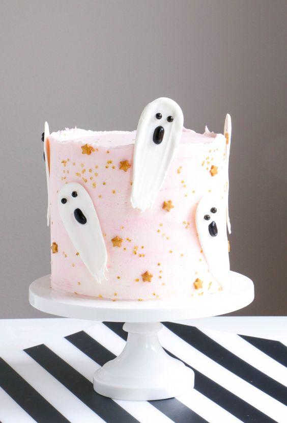 Brushstroke Ghost Halloween Cake