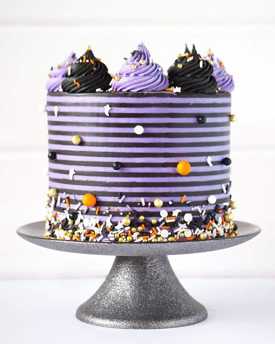 Purple And Black Striped Cake