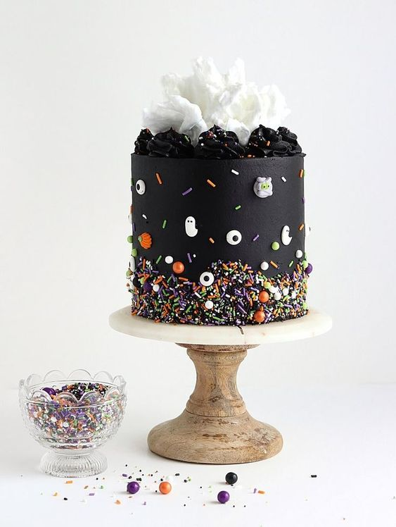 Spooky Black Buttercream Cake