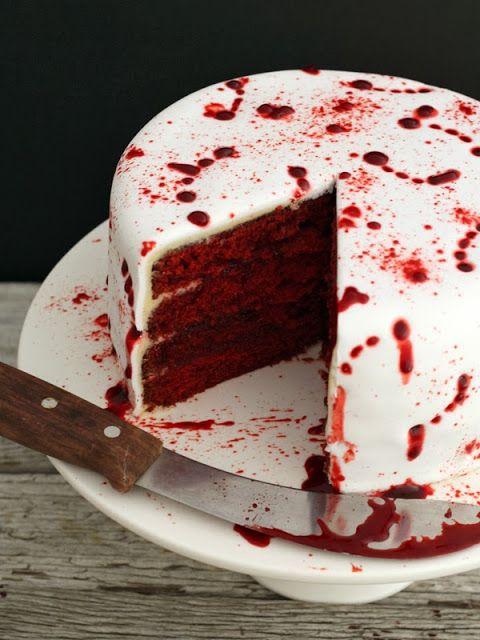 Blood Splattered Halloween Red Velvet Cake