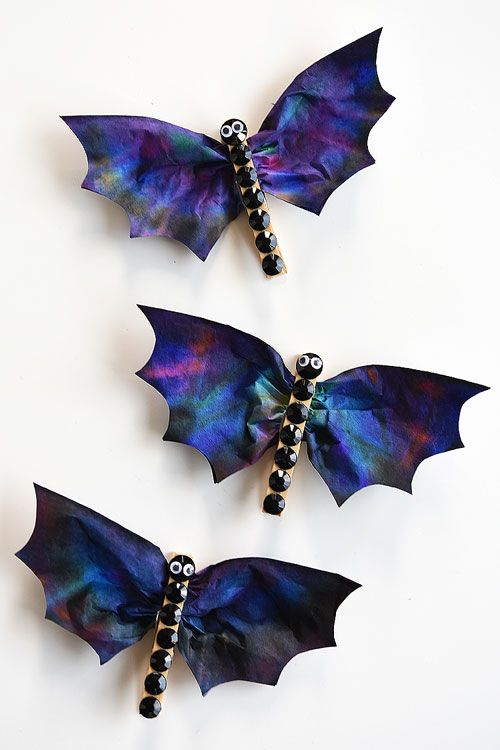 Colorful Coffee Filter Bats Craft