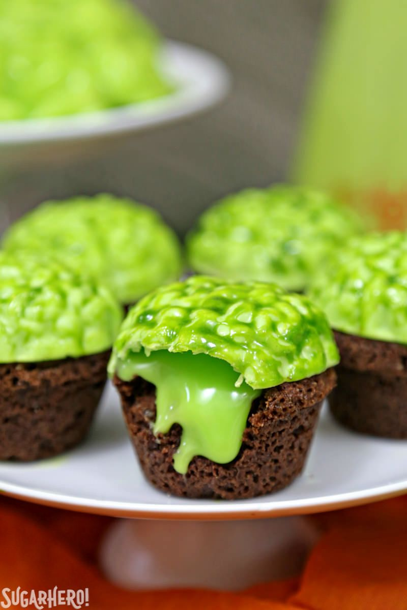 Zombie Brain Brownie Bites - Halloween Cupcake Ideas