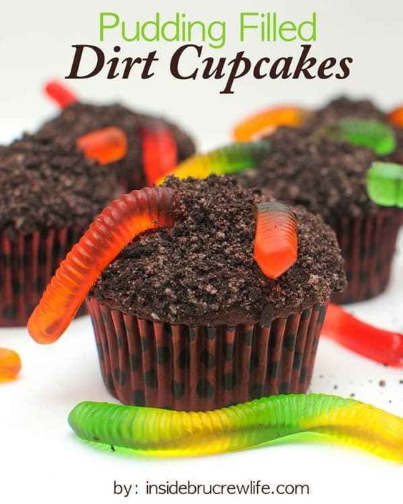 Pudding Filled Dirt Cupcakes