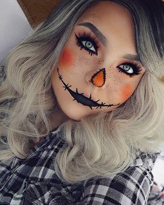Pretty scarcrow makeup ideas, cute Halloween makeup looks