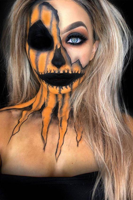 Scary half face Halloween makeup - skull pumpkin, cool Halloween makeup looks
