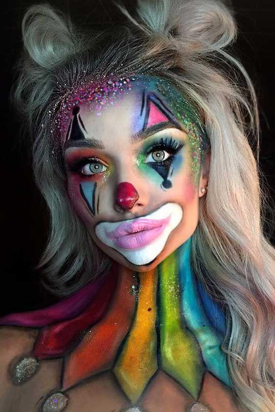 Cute Halloween makeup looks - colorful & cute clown makeup