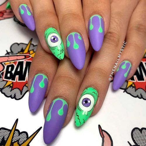 Green and purple Halloween nails - Monsters inc nails