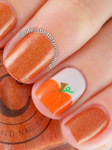 Short pumpkin nails