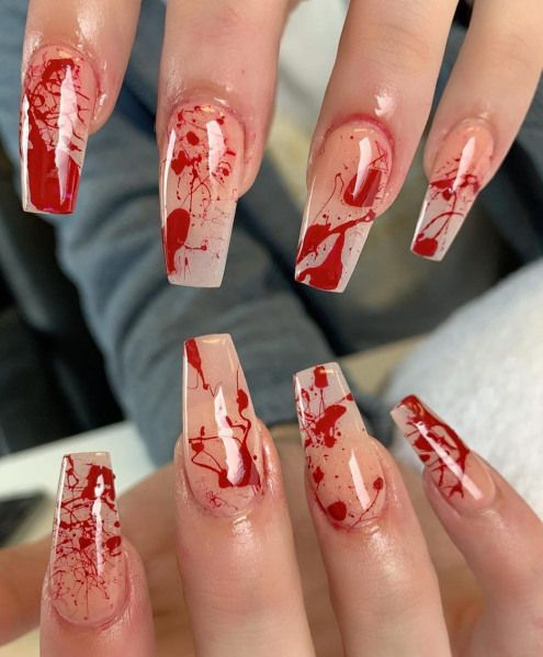 Bloody nails, cool Halloween nails designs