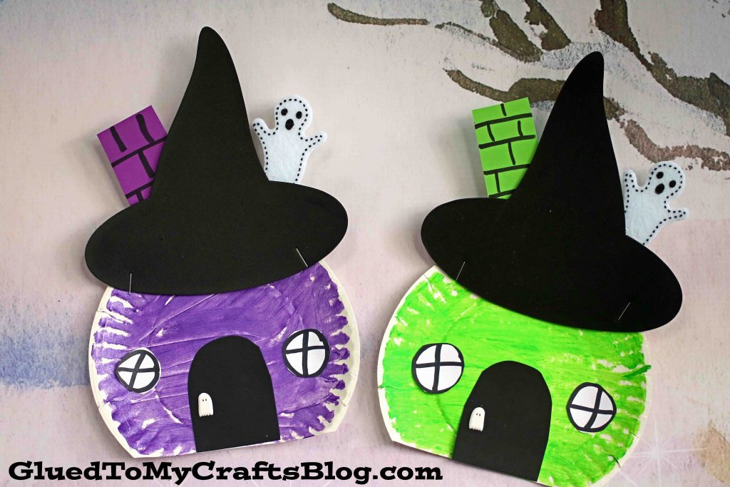 Paper Plate Witch House Craft For Halloween