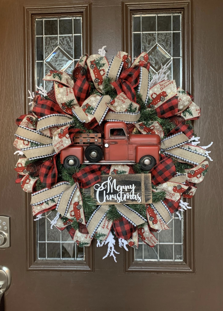 Red Truck Christmas wreath with burlap