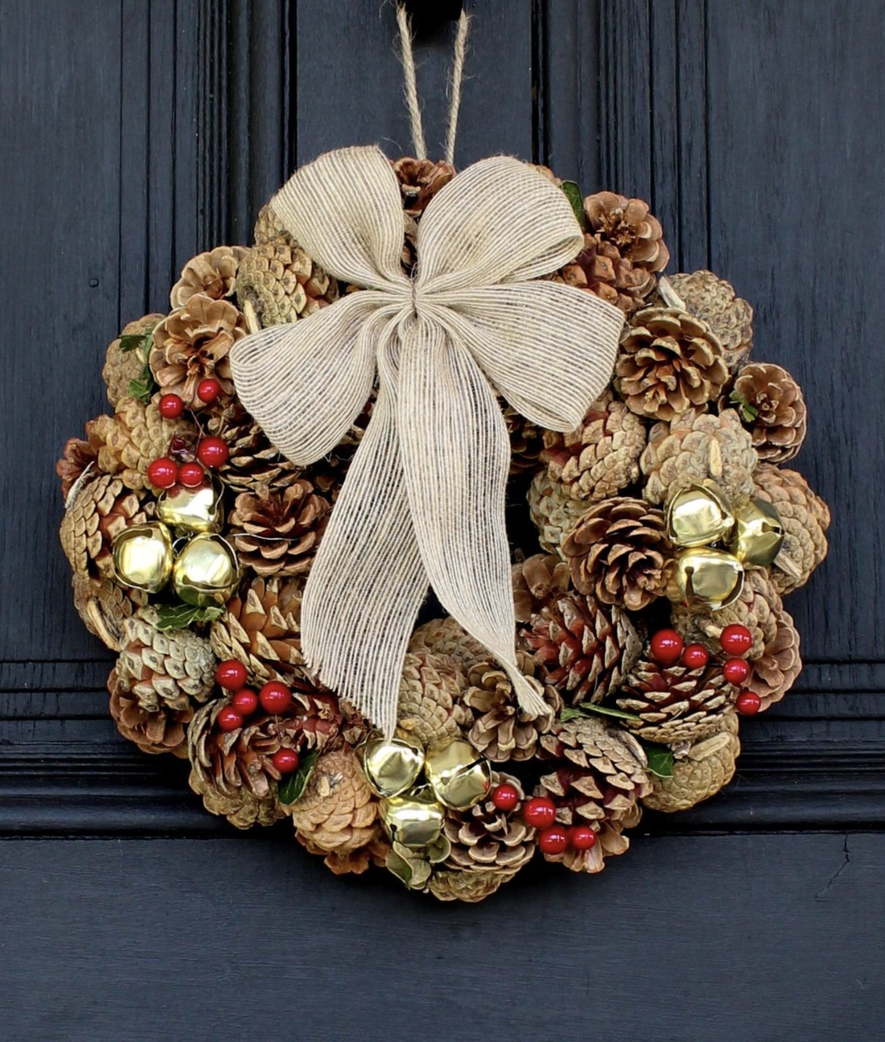 Natural Pinecone, Gold Jingle Bell Christmas Wreath with Burlap Bow