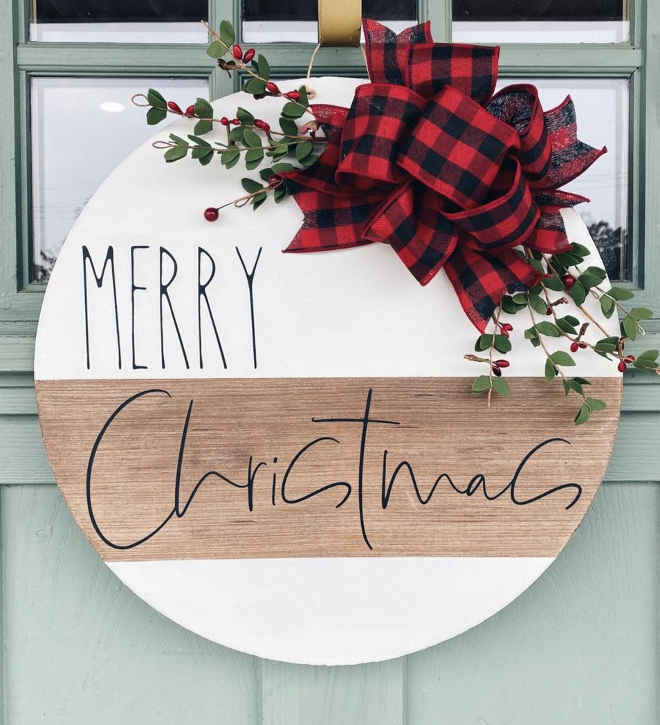 Farmhouse Merry Christmas door hanger with red buffalo plaid ribbon