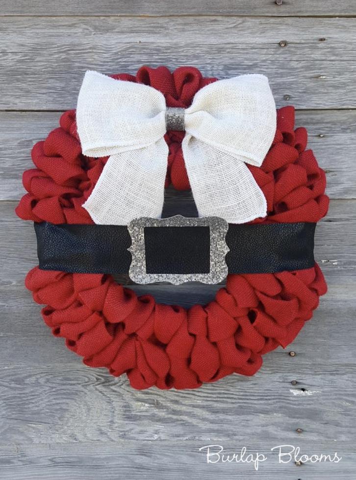 Red Santa Wreath With Burlap