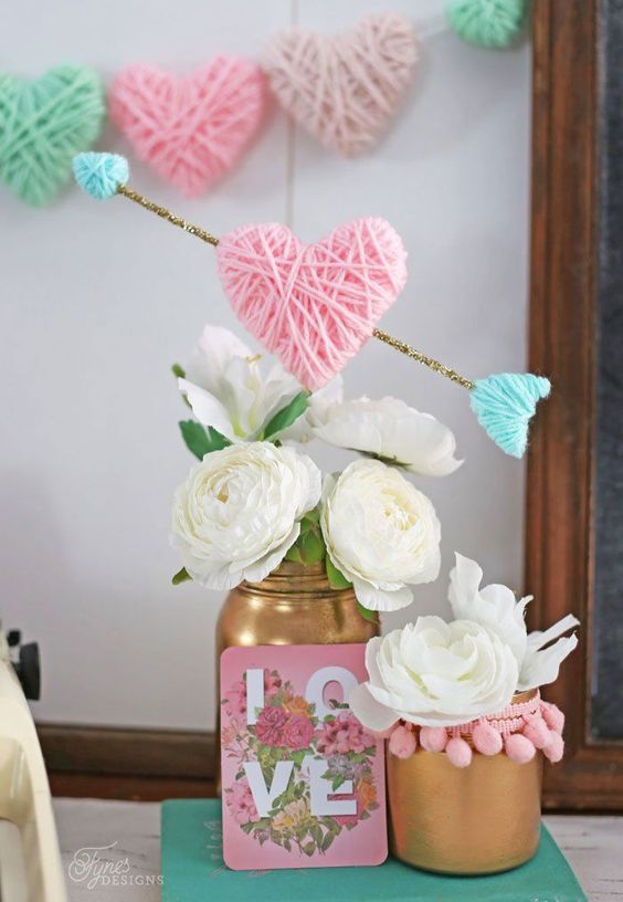 Easy DIY Valentine's Day decor ideas and Valentine's decorations: Yarn wrapped hearts
