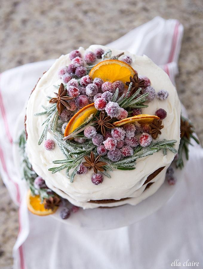 Sugared Rosemary Springs Christmas Cake Decor