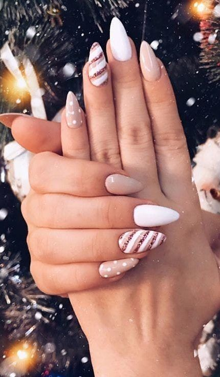 White and pink candy cane nails