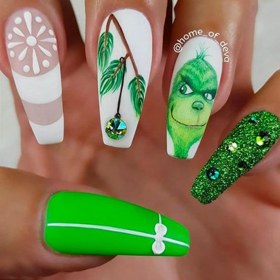 White and green Grinch nails - acrylic coffin nails
