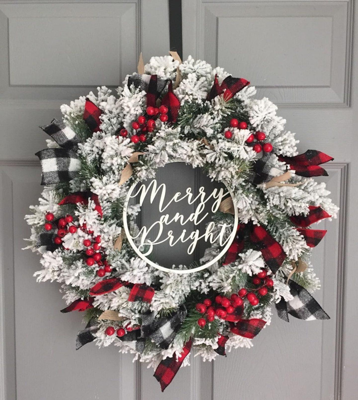 Farmhouse Christmas wreath with buffalo plaid
