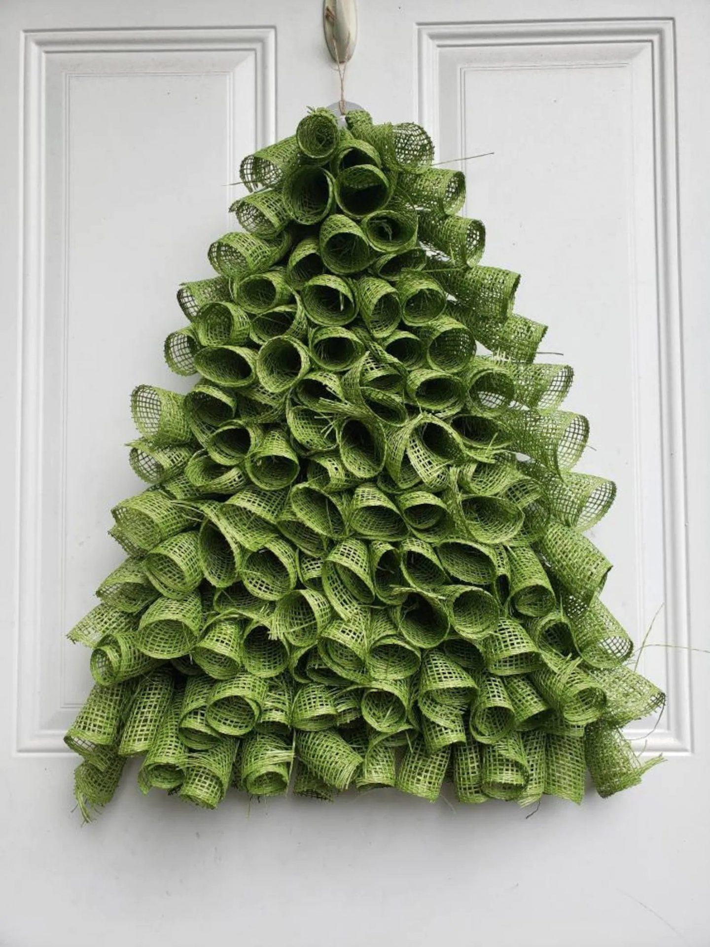 Green burlap Christmas tree wreath