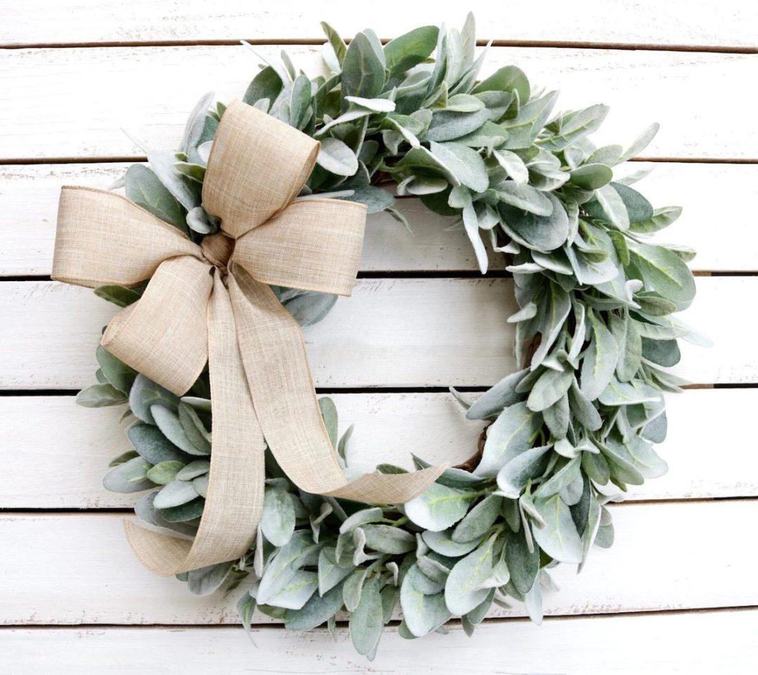 Lambss ear wreath with ribbon