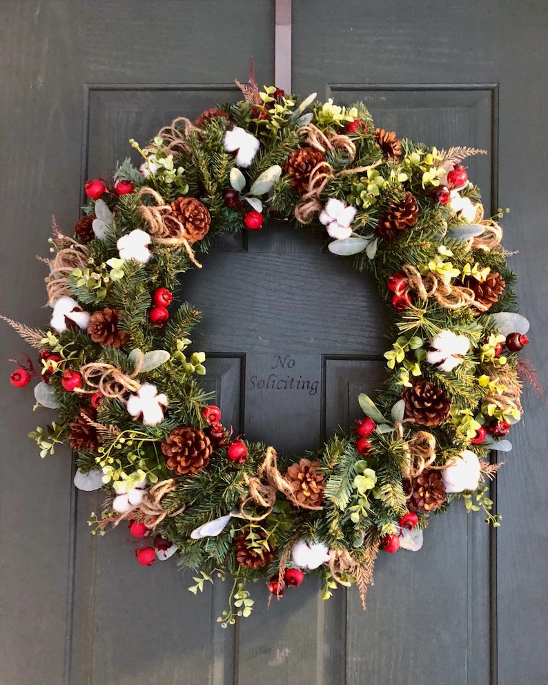 Rustic Pinecone Wreath With Cotton