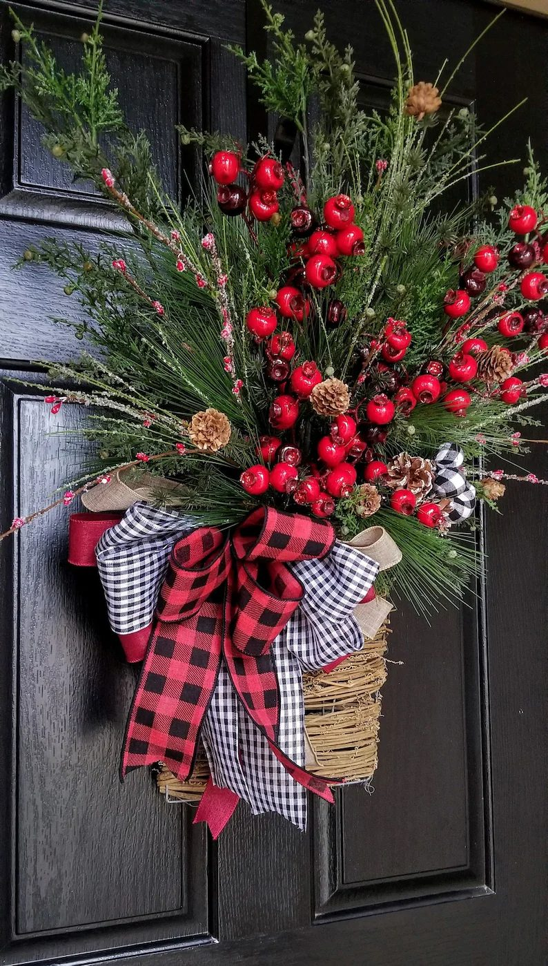 Christmas Wreath Basket With Berries and ribbons