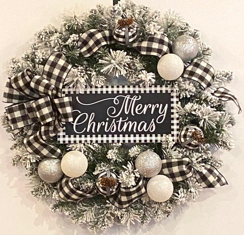 Black and white Buffalo Plaid Christmas Wreath
