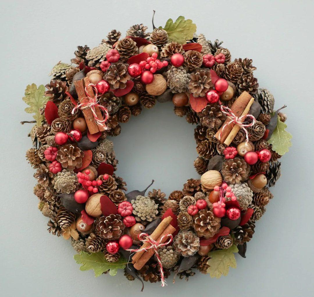 Rustic pinecone and cinnamon stick winter wreath