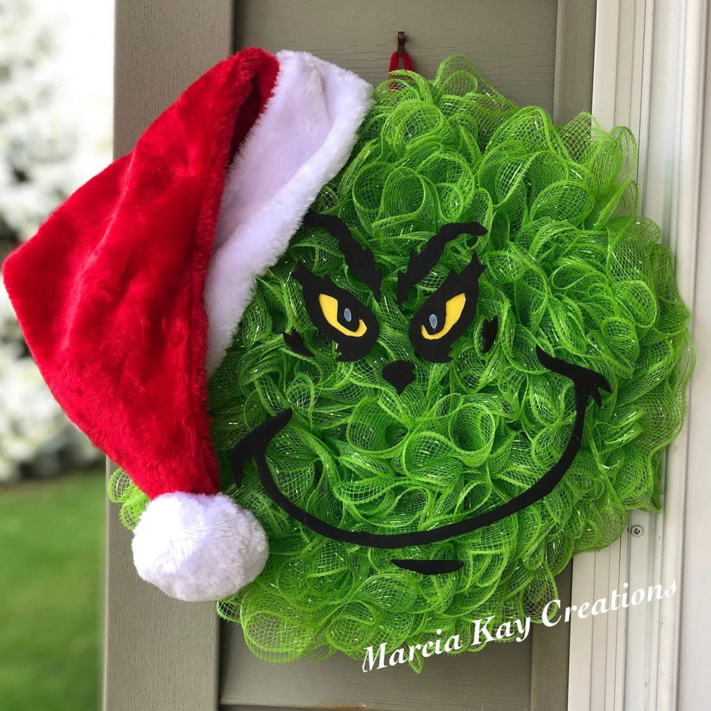 Green Grinch wreath with deco mesh
