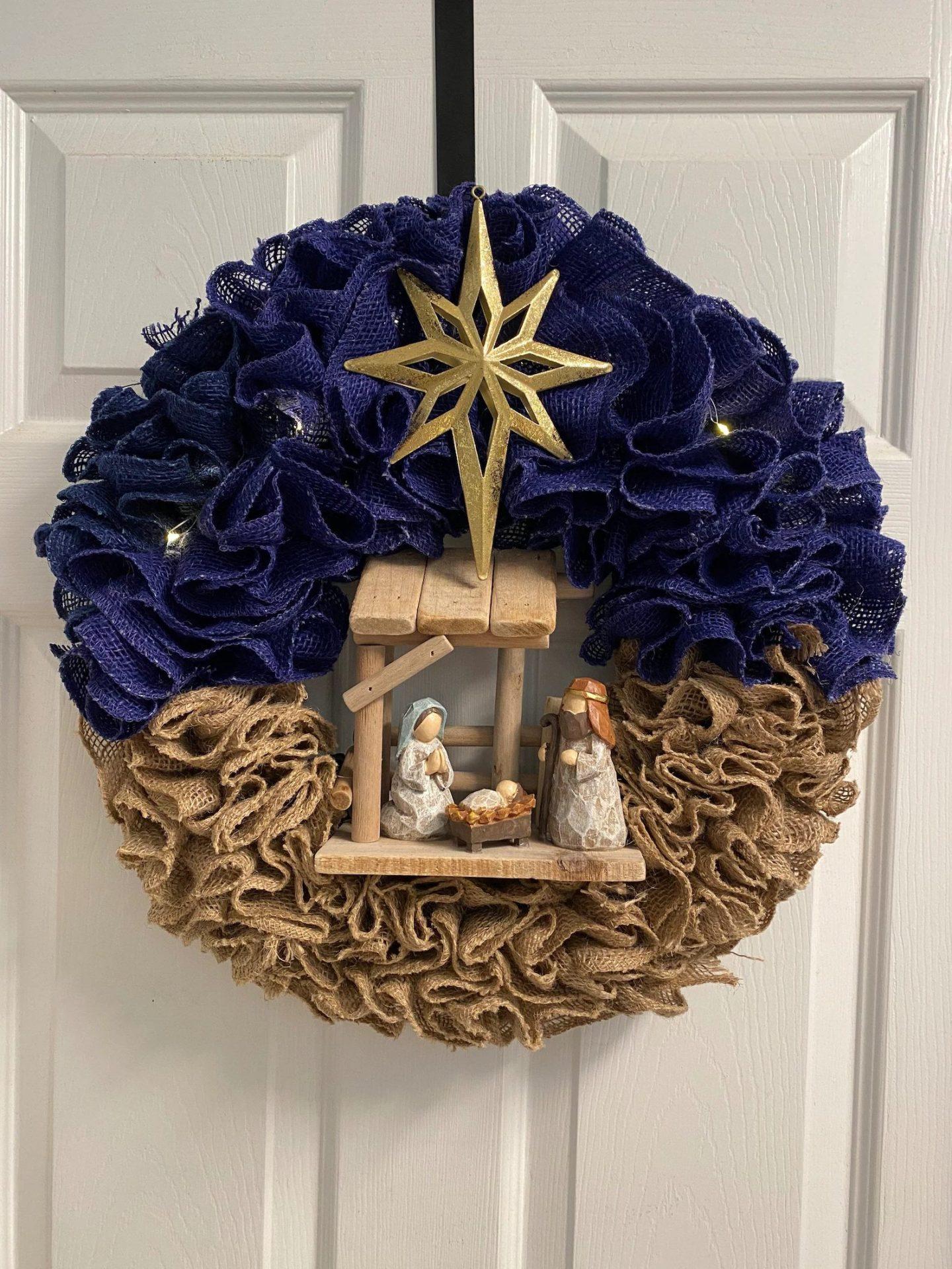 Burlap nativity wreath for Christmas