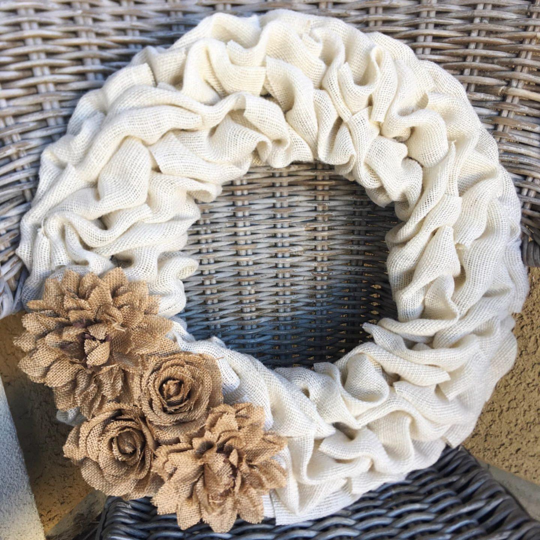 Farmhouse white burlap wreath for the holidays