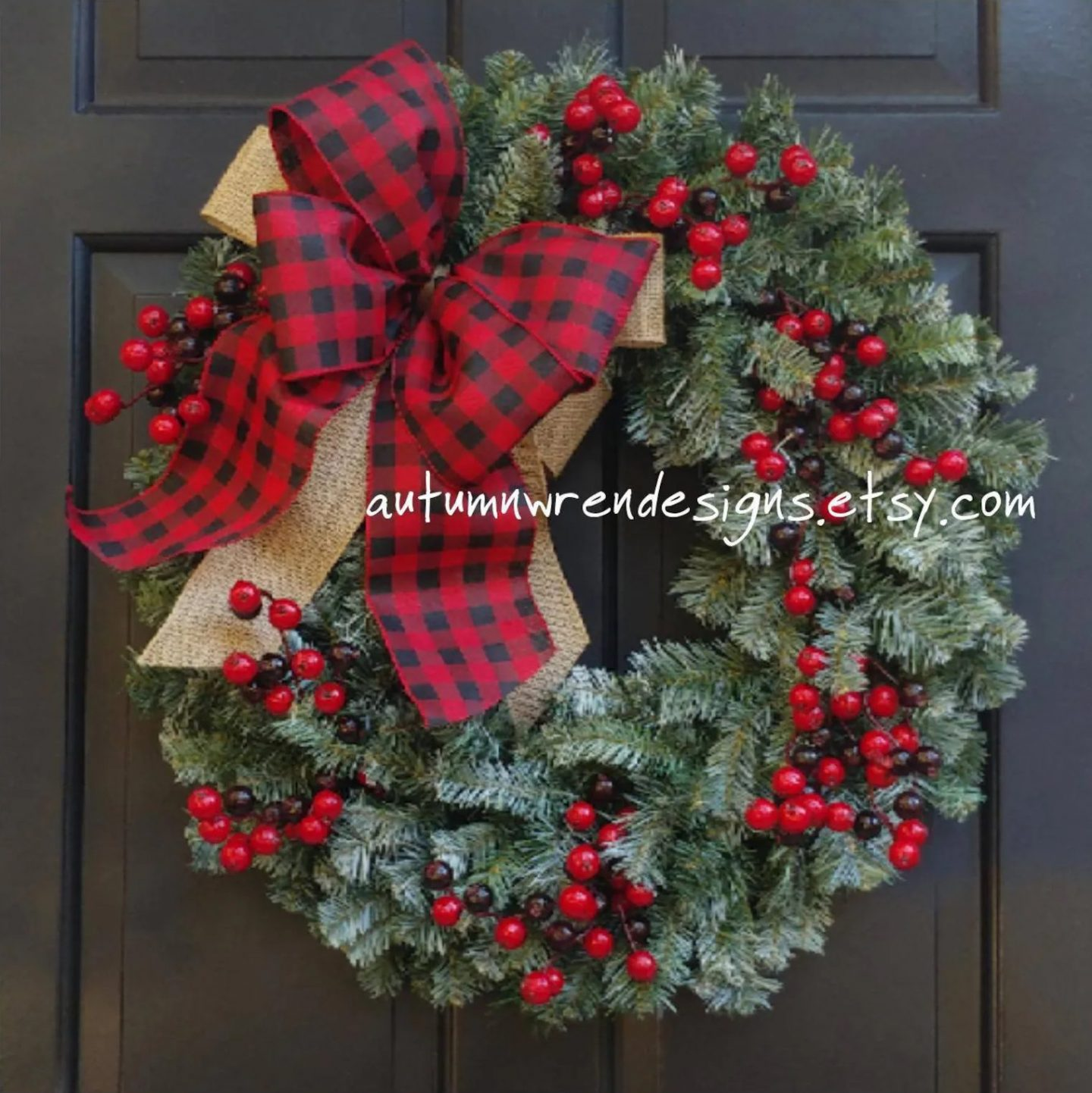 Large Red Ribbon Christmas Wreath