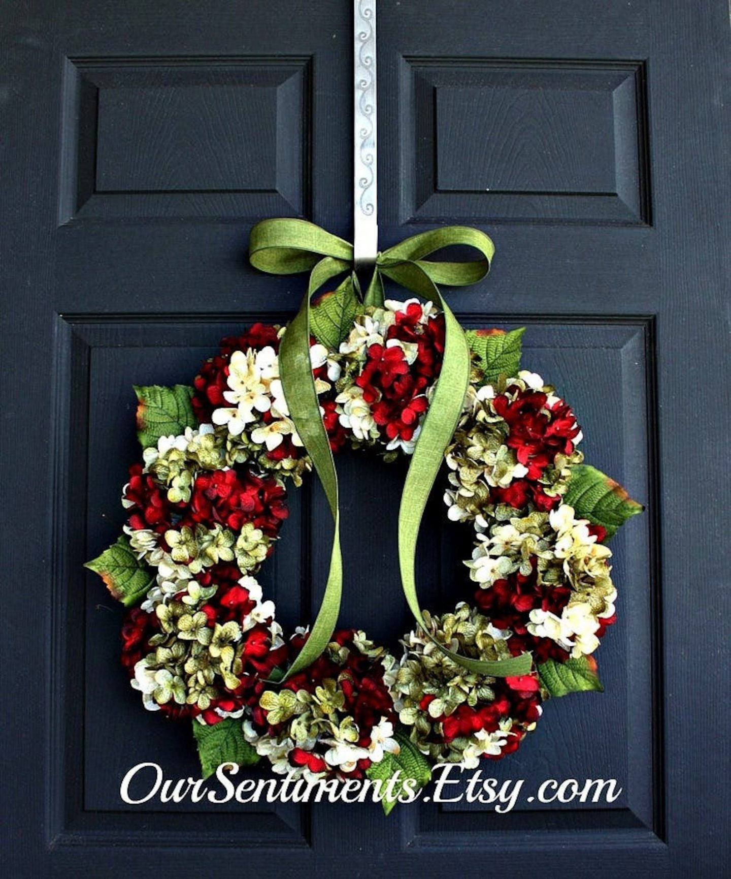 Green hydrangea wreath with red